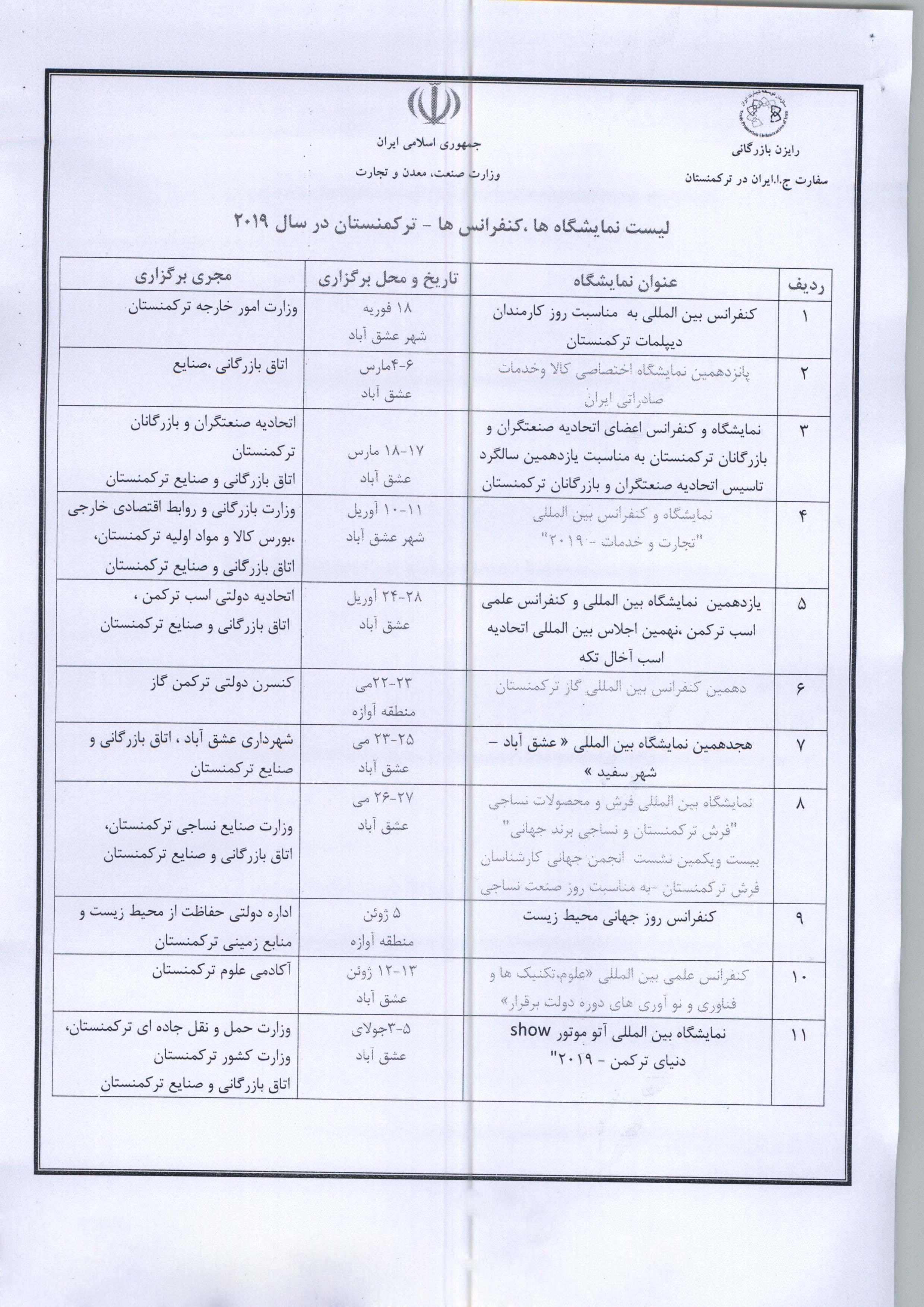 لیست نمایشگاه ها کنفرانس ها ترکمنستان از سفارت ترکمنستان.