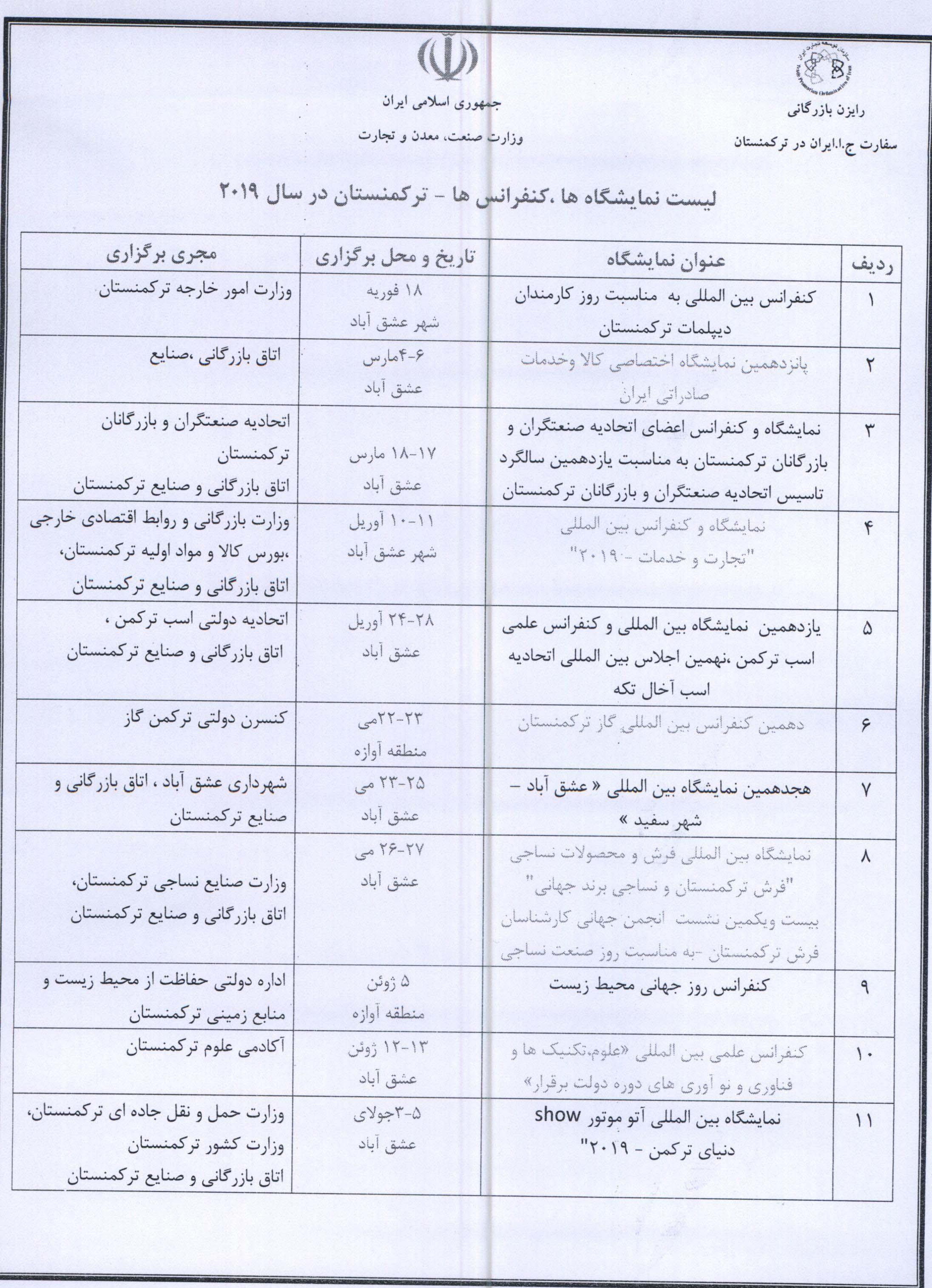 لیست نمایشگاه ها کنفرانس ها ترکمنستان از سفارت ترکمنستان